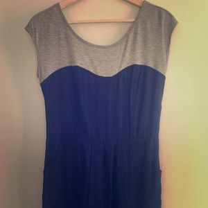 Navy blue and grey jersey illusion mini dress